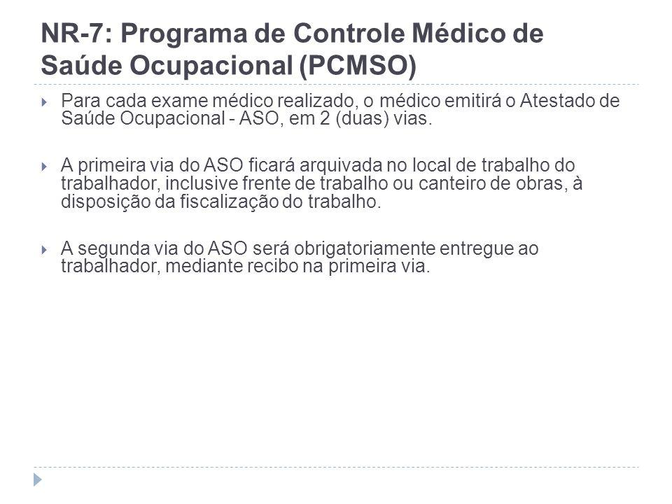 NR-7: Programa de Controle Médico de Saúde Ocupacional (PCMSO) Para cada exame médico realizado, o médico emitirá o Atestado de Saúde Ocupacional - AS