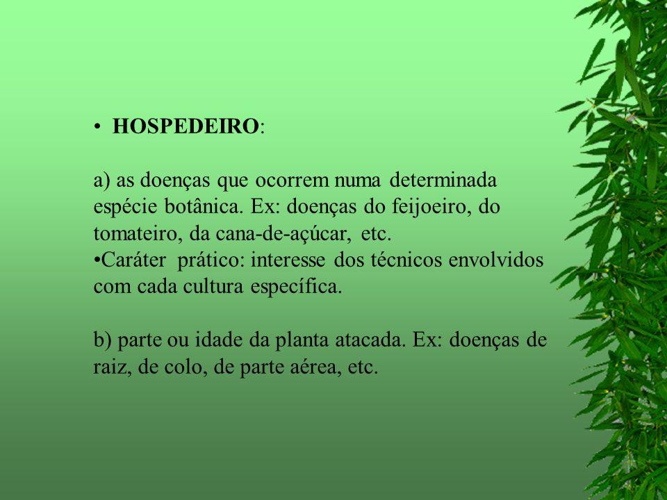 HOSPEDEIRO: a) as doenças que ocorrem numa determinada espécie botânica. Ex: doenças do feijoeiro, do tomateiro, da cana-de-açúcar, etc. Caráter práti