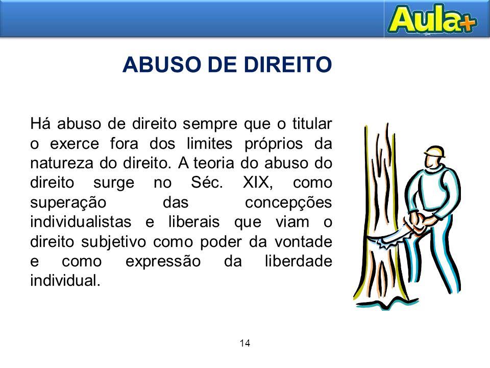 18AULA 1 ABUSO DE DIREITO 14 Há abuso de direito sempre que o titular o exerce fora dos limites próprios da natureza do direito. A teoria do abuso do