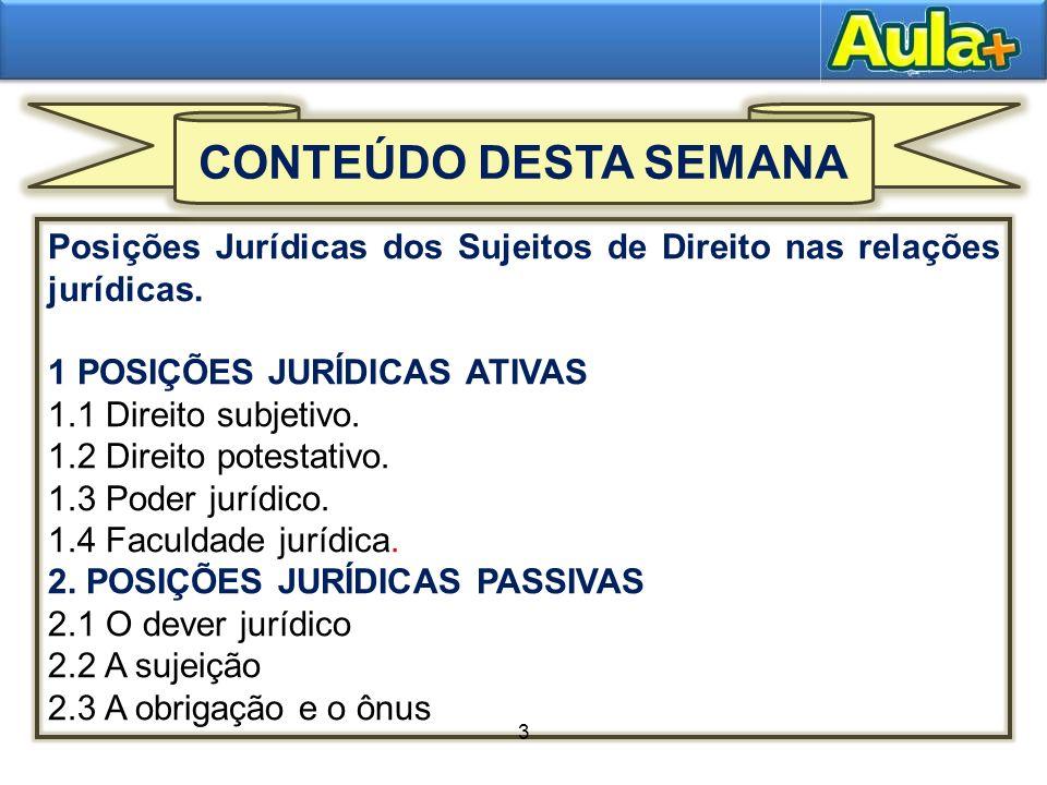 3 1 POSIÇÕES JURÍDICAS ATIVAS 1.1 Direito subjetivo. 1.2 Direito potestativo. 1.3 Poder jurídico. 1.4 Faculdade jurídica. 2. POSIÇÕES JURÍDICAS PASSIV