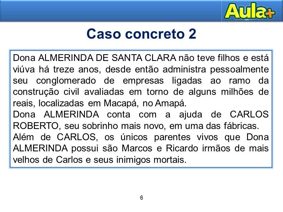 6 8 Dona ALMERINDA DE SANTA CLARA não teve filhos e está viúva há treze anos, desde então administra pessoalmente seu conglomerado de empresas ligadas