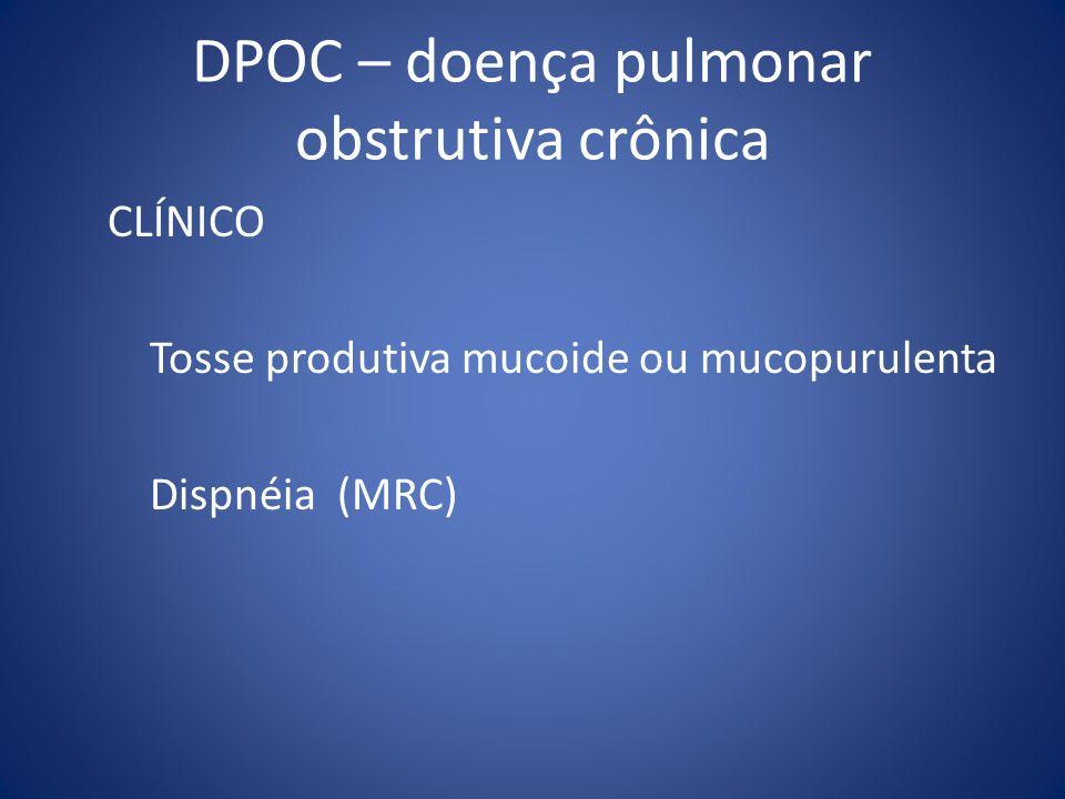DPOC – doença pulmonar obstrutiva crônica CLÍNICO Tosse produtiva mucoide ou mucopurulenta Dispnéia (MRC)