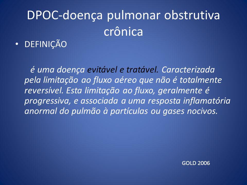 DPOC-doença pulmonar obstrutiva crônica DEFINIÇÃO é uma doença evitável e tratável. Caracterizada pela limitação ao fluxo aéreo que não é totalmente r
