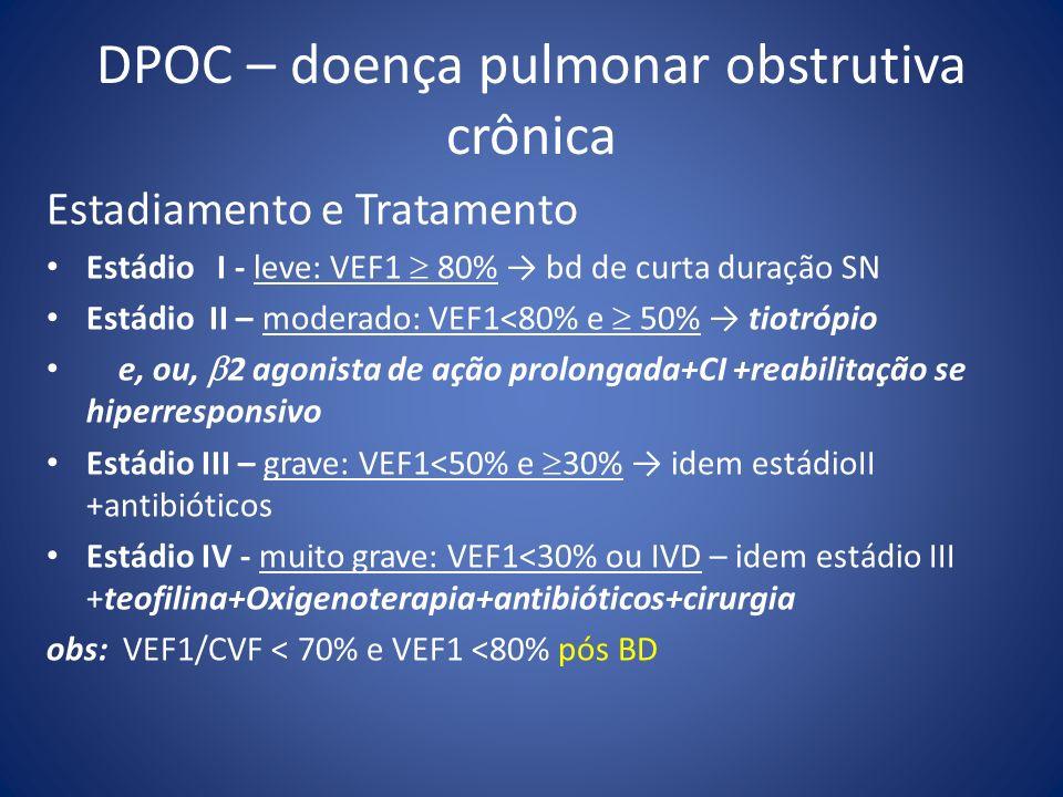 DPOC – doença pulmonar obstrutiva crônica Estadiamento e Tratamento Estádio I - leve: VEF1 80% bd de curta duração SN Estádio II – moderado: VEF1<80%