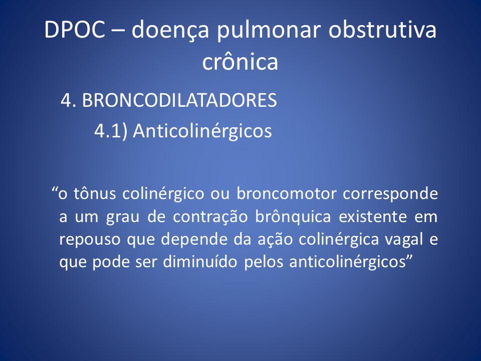 DPOC – doença pulmonar obstrutiva crônica 4. BRONCODILATADORES 4.1) Anticolinérgicos o tônus colinérgico ou broncomotor corresponde a um grau de contr