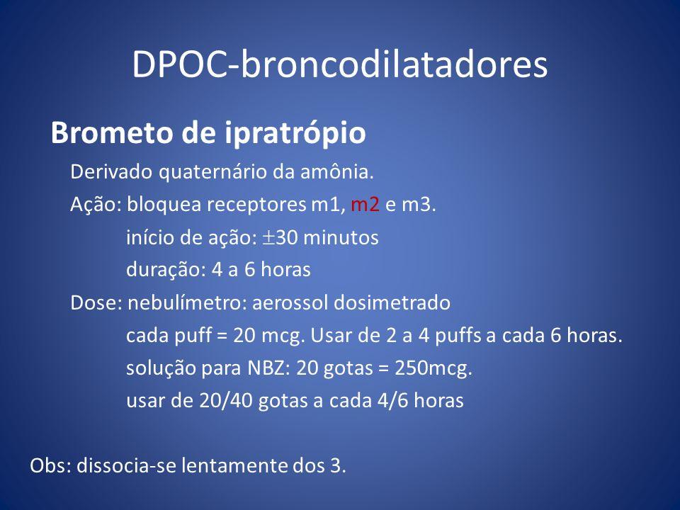 DPOC-broncodilatadores Brometo de ipratrópio Derivado quaternário da amônia. Ação: bloquea receptores m1, m2 e m3. início de ação: 30 minutos duração: