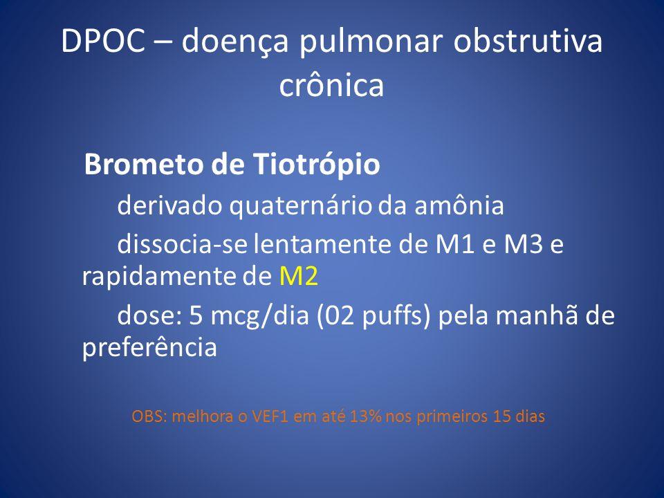 DPOC – doença pulmonar obstrutiva crônica Brometo de Tiotrópio derivado quaternário da amônia dissocia-se lentamente de M1 e M3 e rapidamente de M2 do