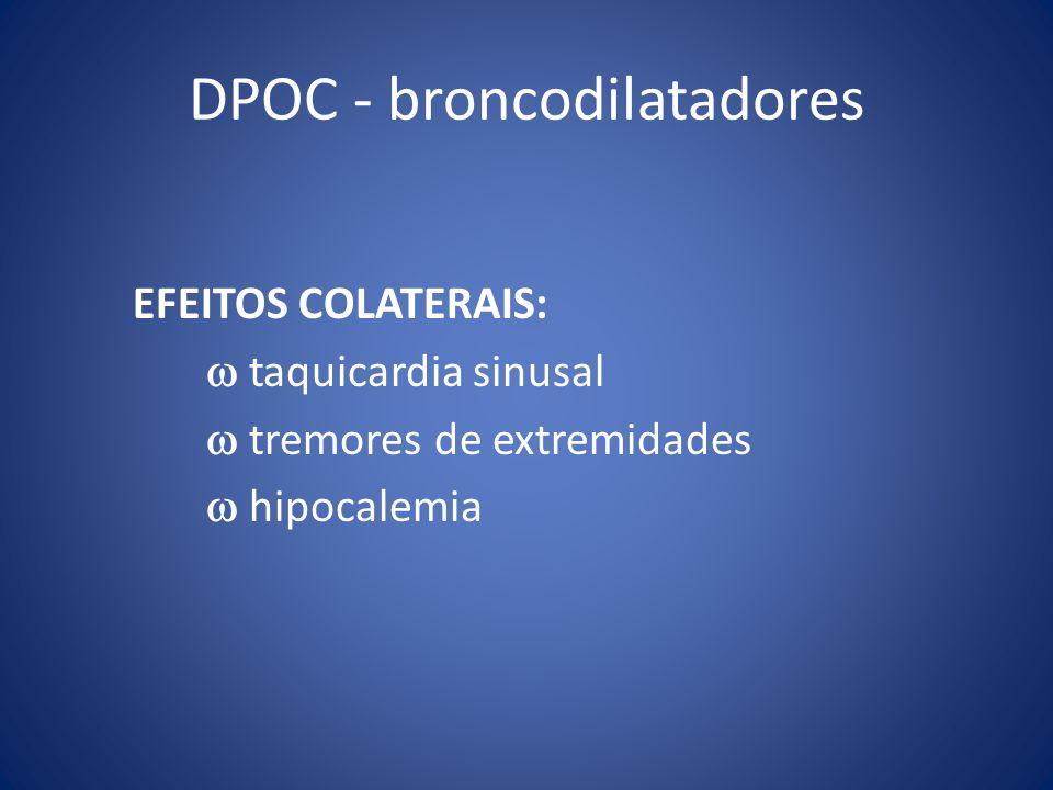DPOC - broncodilatadores EFEITOS COLATERAIS: taquicardia sinusal tremores de extremidades hipocalemia