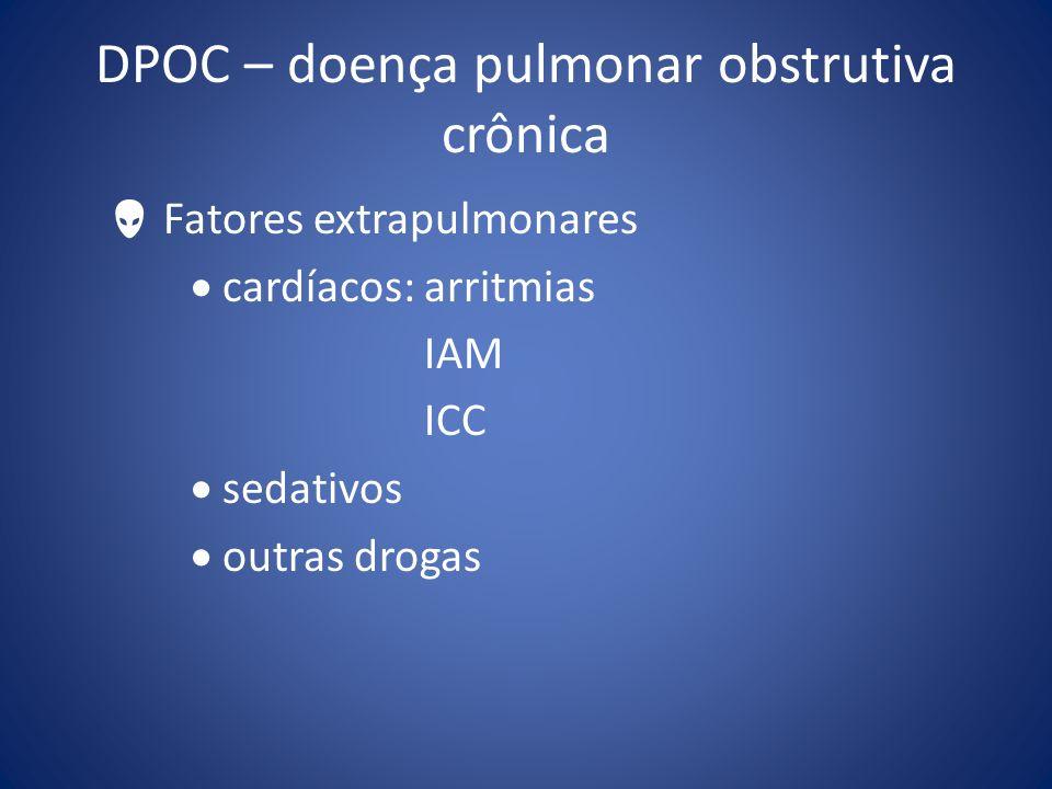 DPOC – doença pulmonar obstrutiva crônica Fatores extrapulmonares cardíacos: arritmias IAM ICC sedativos outras drogas