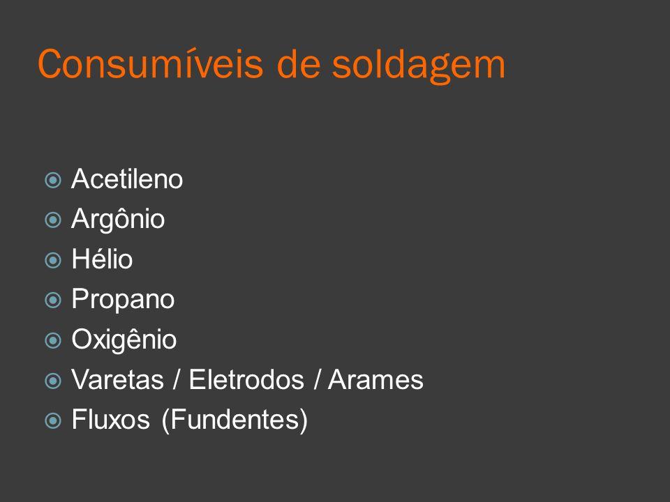 Consumíveis de soldagem Acetileno Argônio Hélio Propano Oxigênio Varetas / Eletrodos / Arames Fluxos (Fundentes)