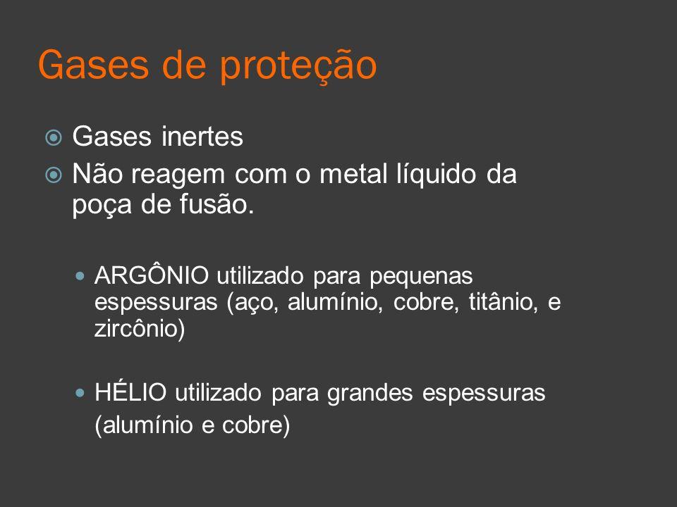 Gases de proteção Gases inertes Não reagem com o metal líquido da poça de fusão. ARGÔNIO utilizado para pequenas espessuras (aço, alumínio, cobre, tit