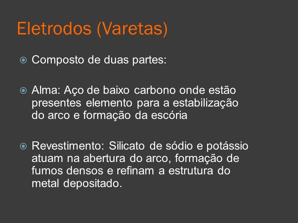 Eletrodos (Varetas) Composto de duas partes: Alma: Aço de baixo carbono onde estão presentes elemento para a estabilização do arco e formação da escór