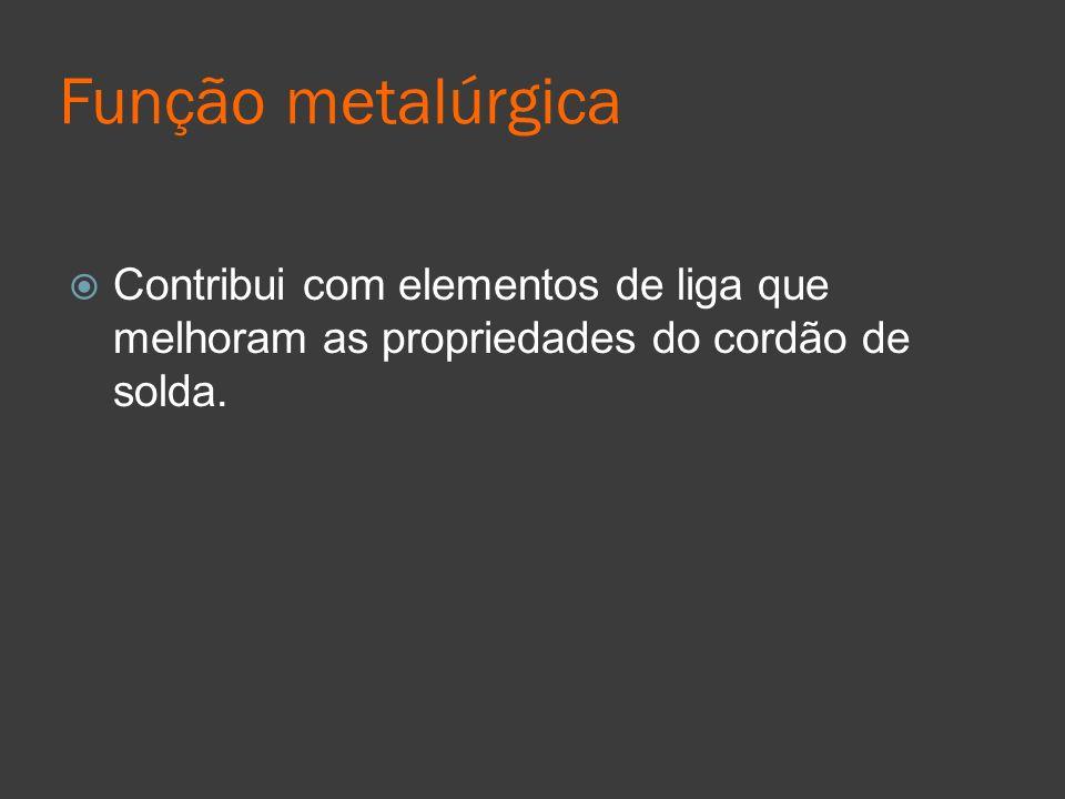 Função metalúrgica Contribui com elementos de liga que melhoram as propriedades do cordão de solda.