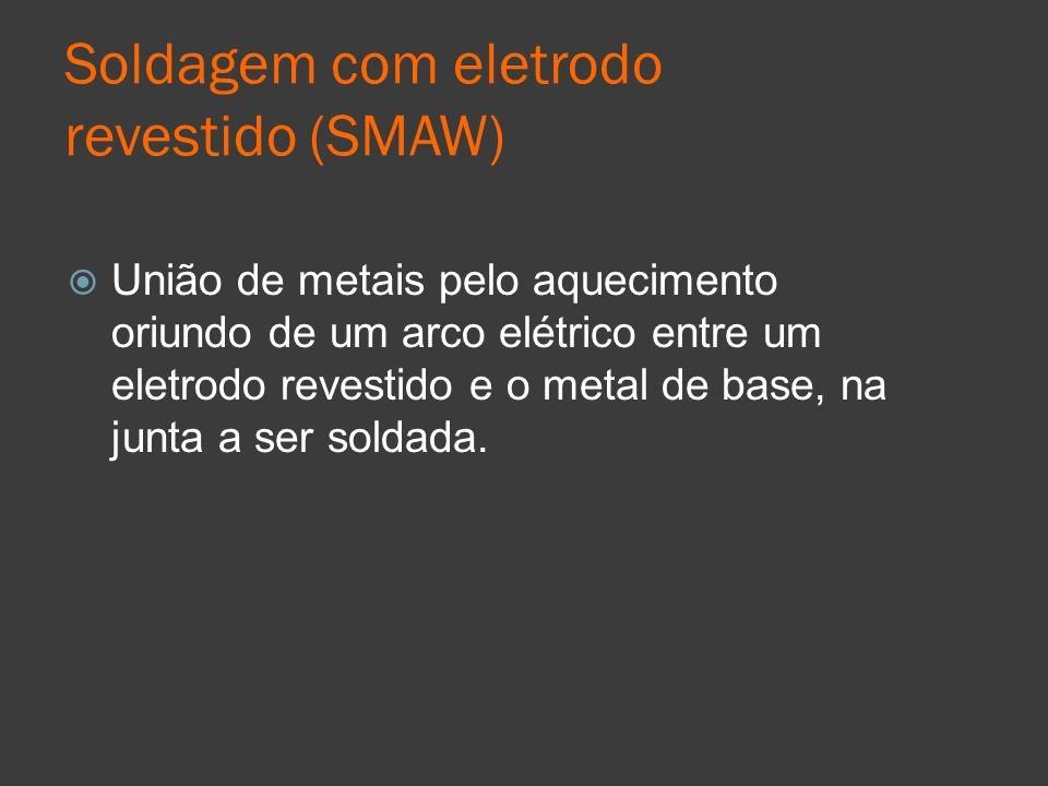 Soldagem com eletrodo revestido (SMAW) União de metais pelo aquecimento oriundo de um arco elétrico entre um eletrodo revestido e o metal de base, na