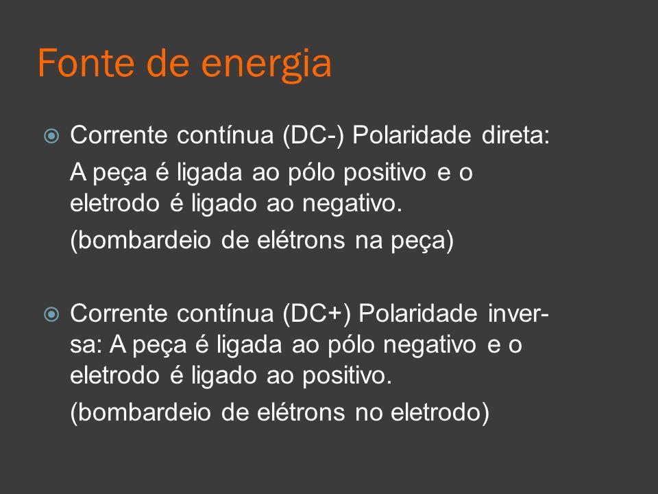 Fonte de energia Corrente contínua (DC-) Polaridade direta: A peça é ligada ao pólo positivo e o eletrodo é ligado ao negativo. (bombardeio de elétron