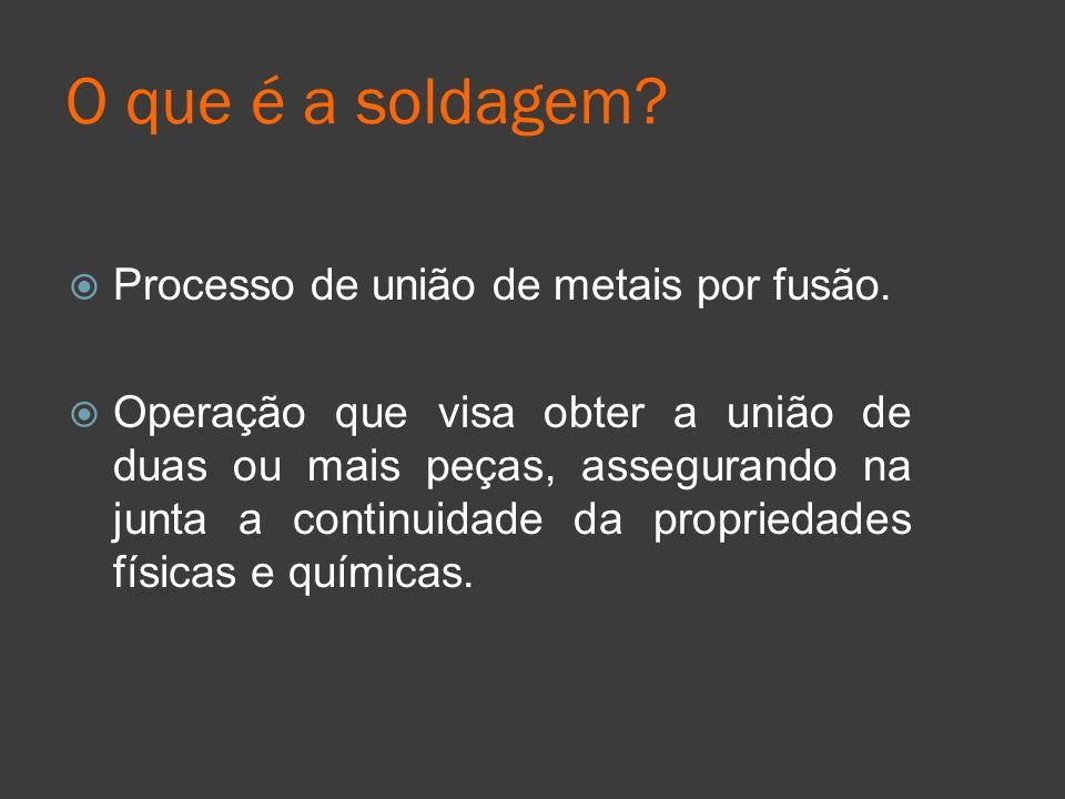 O que é a soldagem? Processo de união de metais por fusão. Operação que visa obter a união de duas ou mais peças, assegurando na junta a continuidade