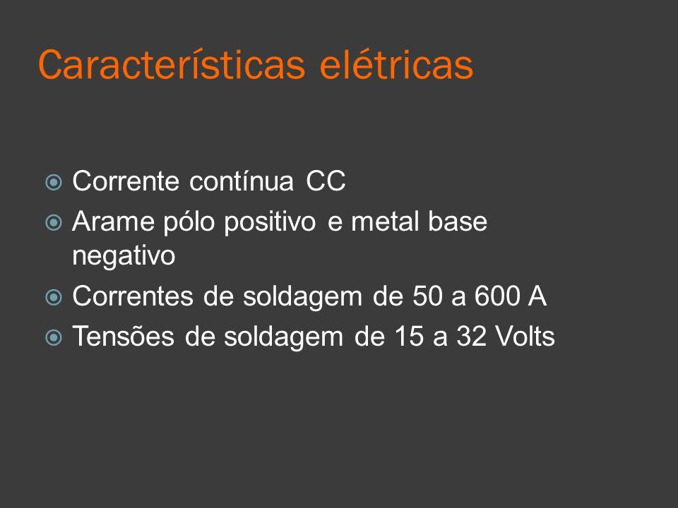 Características elétricas Corrente contínua CC Arame pólo positivo e metal base negativo Correntes de soldagem de 50 a 600 A Tensões de soldagem de 15