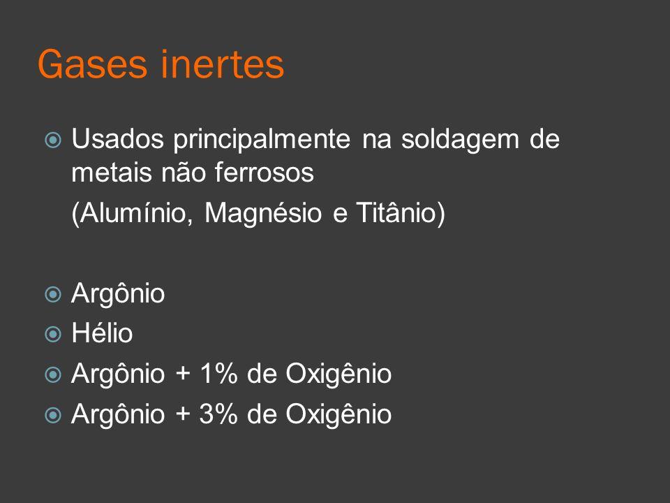 Gases inertes Usados principalmente na soldagem de metais não ferrosos (Alumínio, Magnésio e Titânio) Argônio Hélio Argônio + 1% de Oxigênio Argônio +