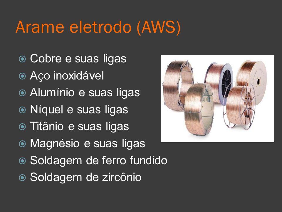 Arame eletrodo (AWS) Cobre e suas ligas Aço inoxidável Alumínio e suas ligas Níquel e suas ligas Titânio e suas ligas Magnésio e suas ligas Soldagem d