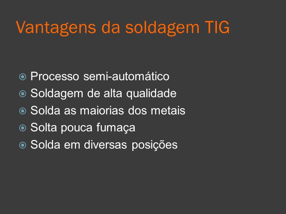 Vantagens da soldagem TIG Processo semi-automático Soldagem de alta qualidade Solda as maiorias dos metais Solta pouca fumaça Solda em diversas posiçõ