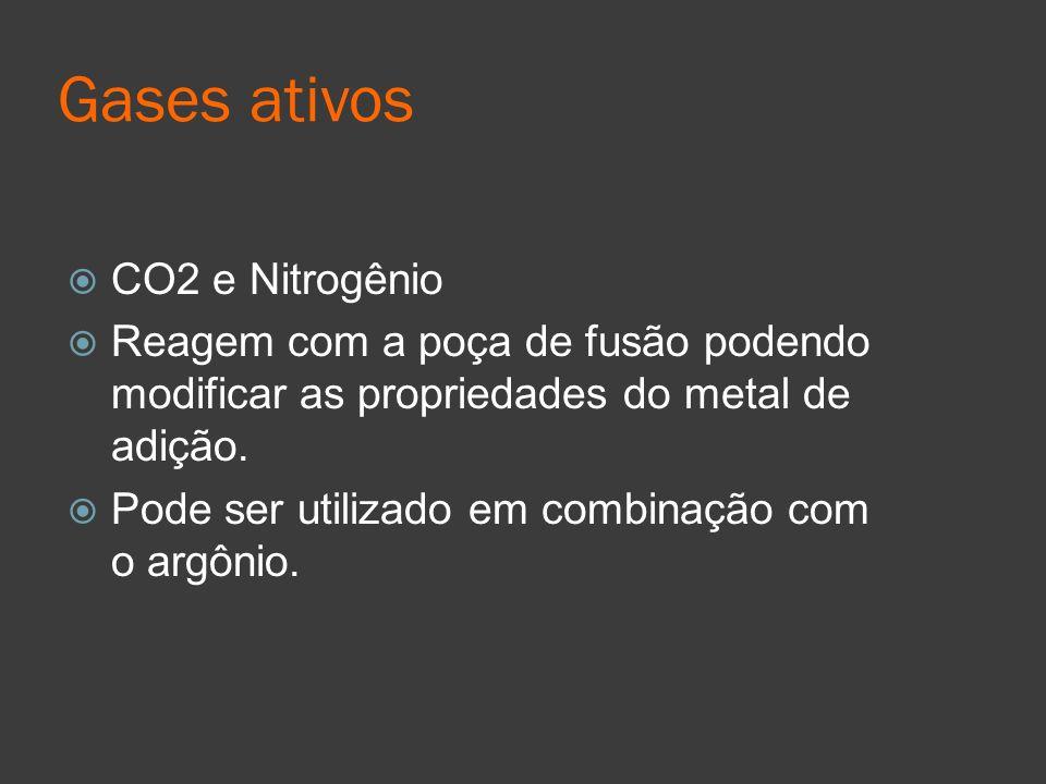 Gases ativos CO2 e Nitrogênio Reagem com a poça de fusão podendo modificar as propriedades do metal de adição. Pode ser utilizado em combinação com o