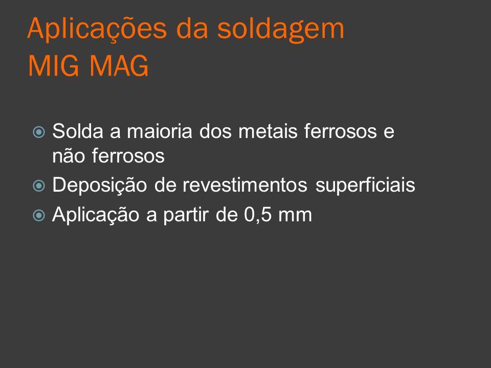 Aplicações da soldagem MIG MAG Solda a maioria dos metais ferrosos e não ferrosos Deposição de revestimentos superficiais Aplicação a partir de 0,5 mm