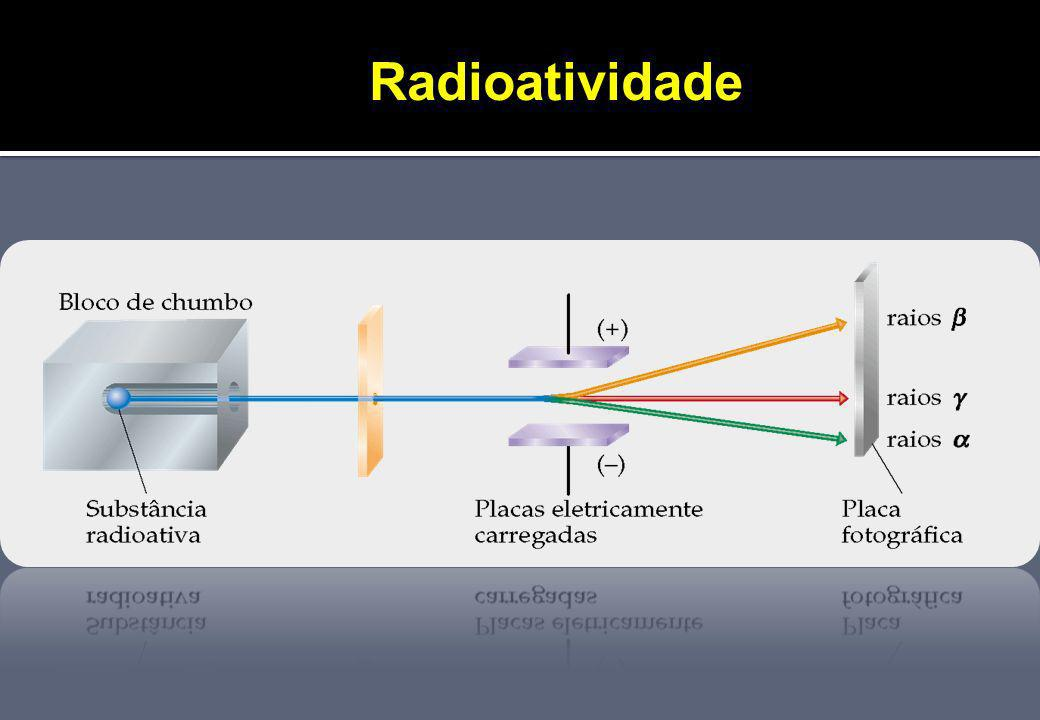 Radioatividade Um alto desvio no sentido da chapa positiva corresponde à radiação que é negativamente carregada e tem massa baixa.