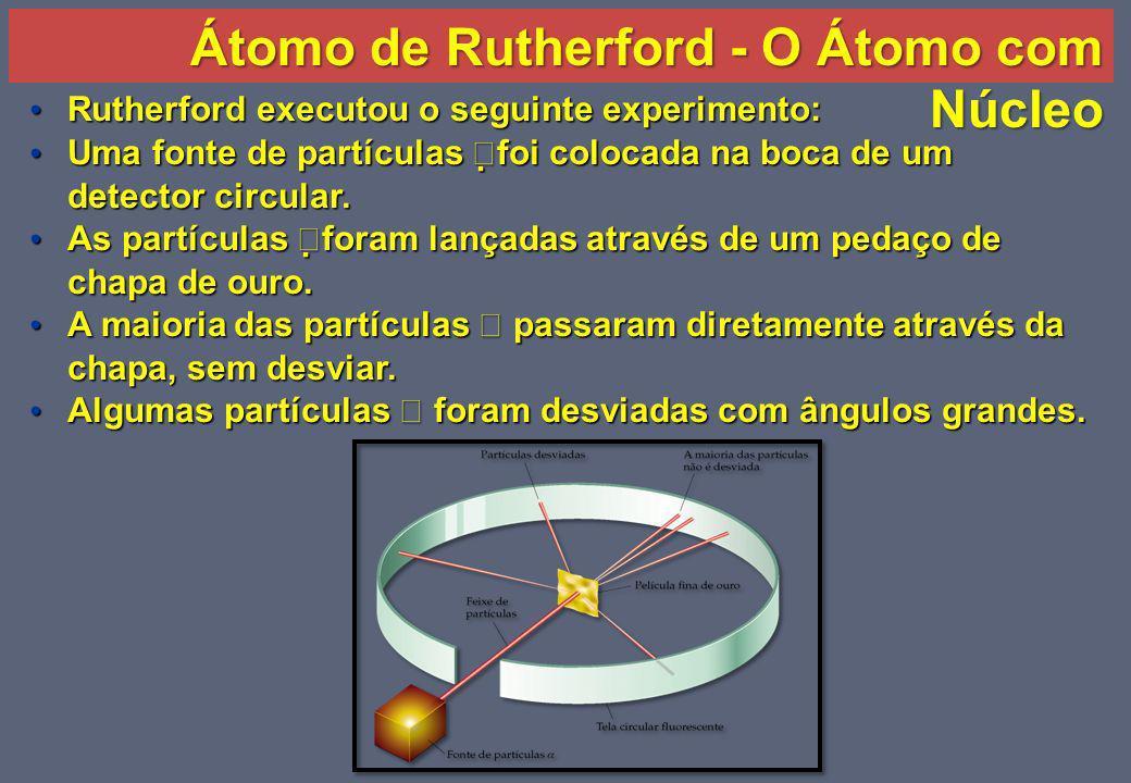 O átomo com núcleo Rutherford modificou o modelo de Thomson da seguinte maneira: Rutherford modificou o modelo de Thomson da seguinte maneira: – Suponha que o átomo é esférico mas a carga positiva deve estar localizada no centro, com uma carga negativa difusa em torno dele.