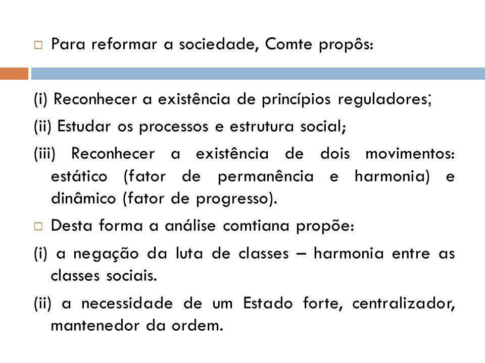 Para reformar a sociedade, Comte propôs: (i) Reconhecer a existência de princípios reguladores ; (ii) Estudar os processos e estrutura social; (iii) R
