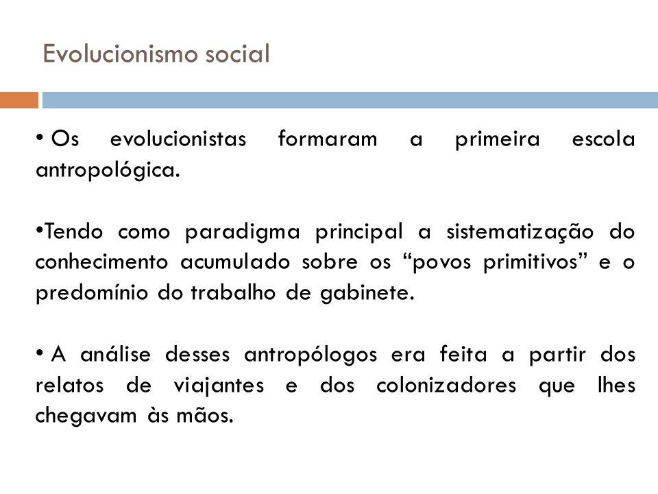 Evolucionismo social Os evolucionistas formaram a primeira escola antropológica. Tendo como paradigma principal a sistematização do conhecimento acumu