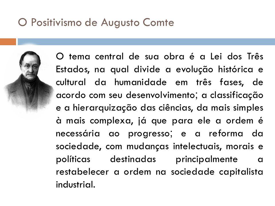 O Positivismo de Augusto Comte O tema central de sua obra é a Lei dos Três Estados, na qual divide a evolução histórica e cultural da humanidade em tr