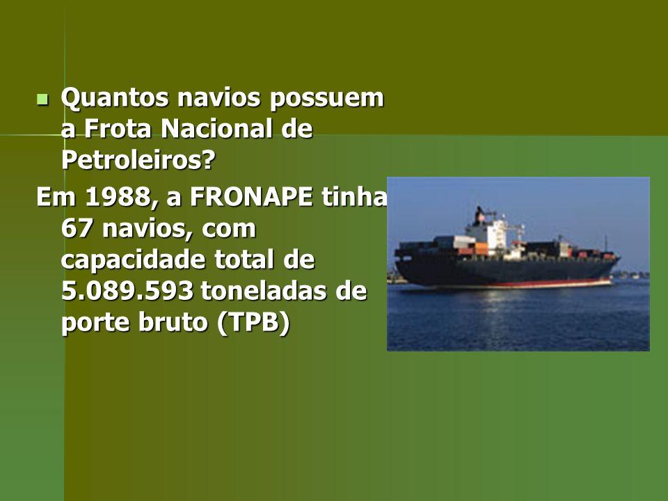 Quantos navios possuem a Frota Nacional de Petroleiros? Quantos navios possuem a Frota Nacional de Petroleiros? Em 1988, a FRONAPE tinha 67 navios, co