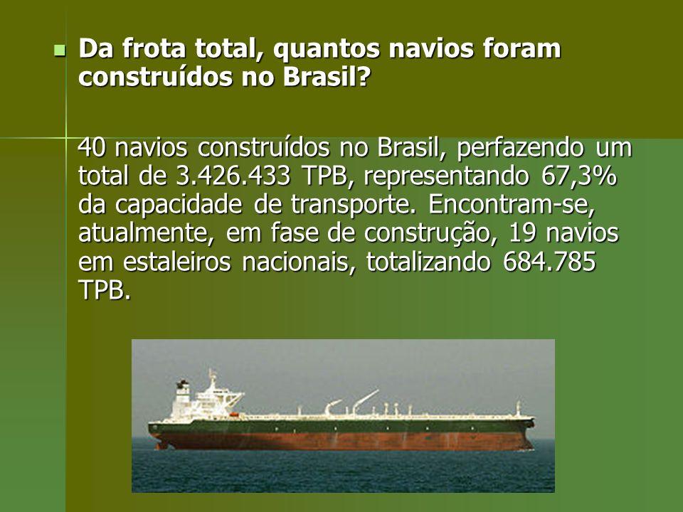Da frota total, quantos navios foram construídos no Brasil? Da frota total, quantos navios foram construídos no Brasil? 40 navios construídos no Brasi