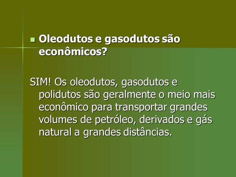 Oleodutos e gasodutos são econômicos? Oleodutos e gasodutos são econômicos? SIM! Os oleodutos, gasodutos e polidutos são geralmente o meio mais econôm