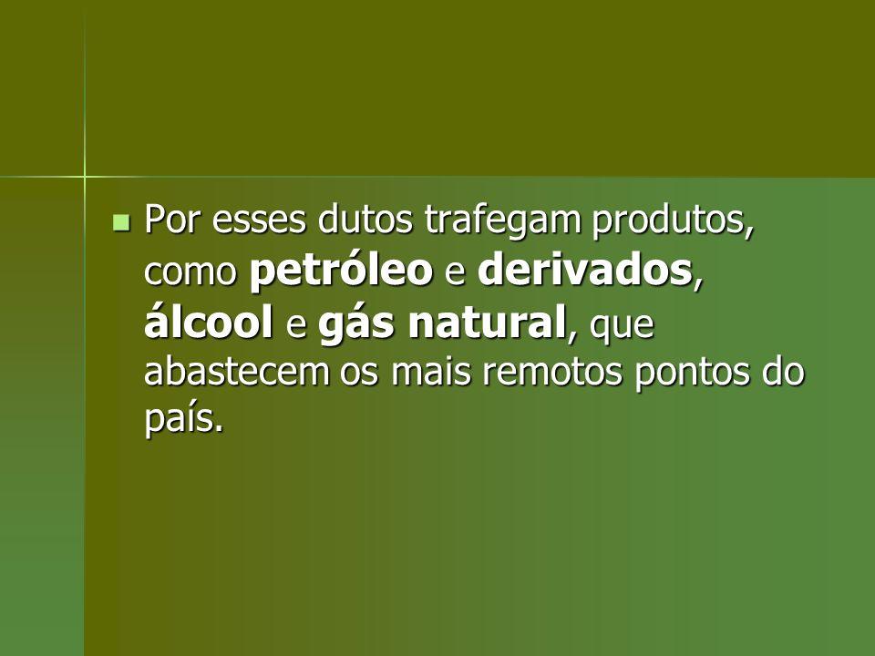 Por esses dutos trafegam produtos, como petróleo e derivados, álcool e gás natural, que abastecem os mais remotos pontos do país. Por esses dutos traf