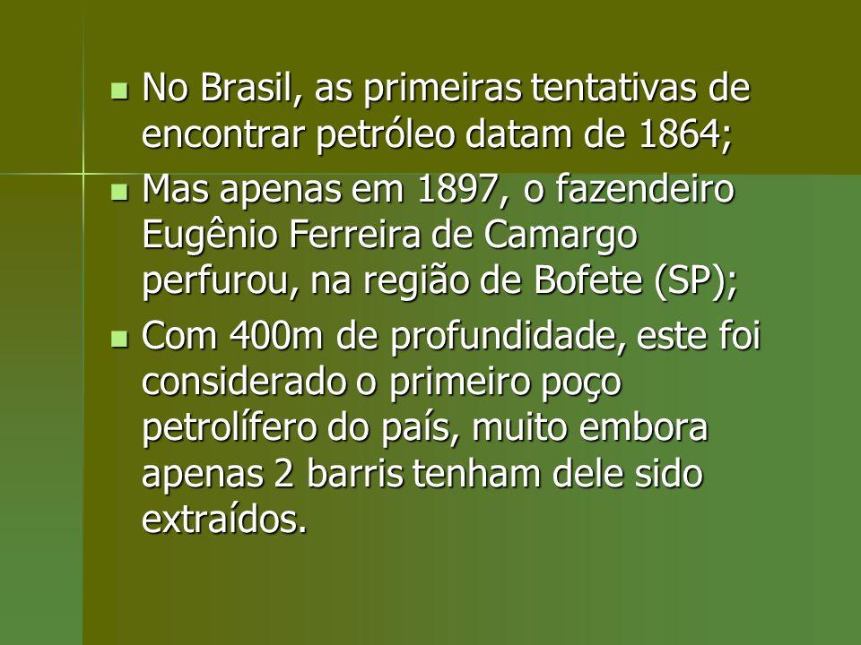 No Brasil, as primeiras tentativas de encontrar petróleo datam de 1864; No Brasil, as primeiras tentativas de encontrar petróleo datam de 1864; Mas ap