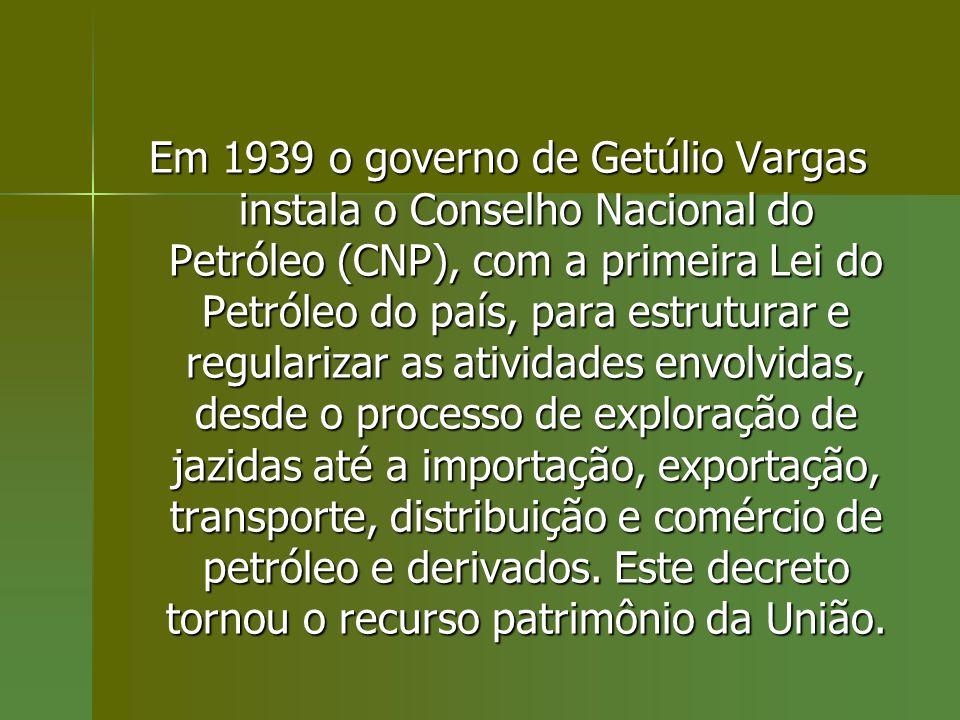 Em 1939 o governo de Getúlio Vargas instala o Conselho Nacional do Petróleo (CNP), com a primeira Lei do Petróleo do país, para estruturar e regulariz