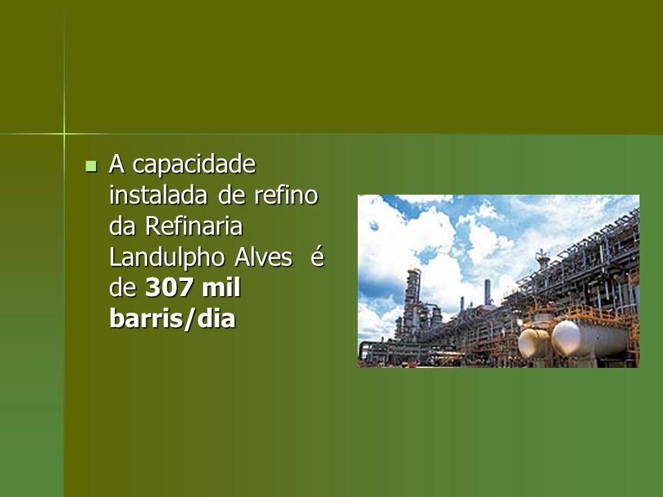 A capacidade instalada de refino da Refinaria Landulpho Alves é de 307 mil barris/dia A capacidade instalada de refino da Refinaria Landulpho Alves é