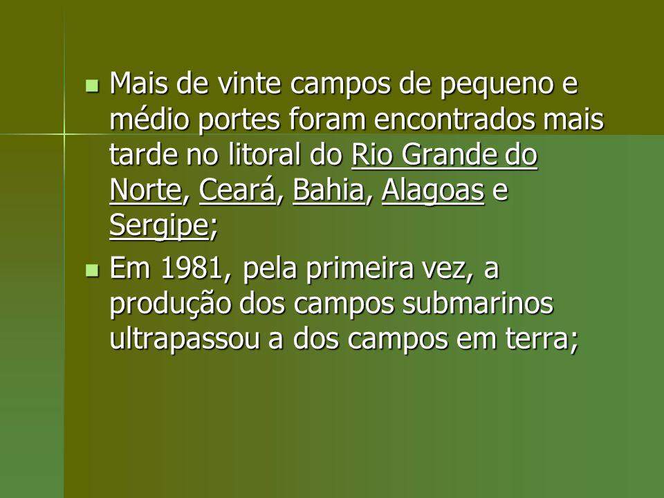 Mais de vinte campos de pequeno e médio portes foram encontrados mais tarde no litoral do Rio Grande do Norte, Ceará, Bahia, Alagoas e Sergipe; Mais d