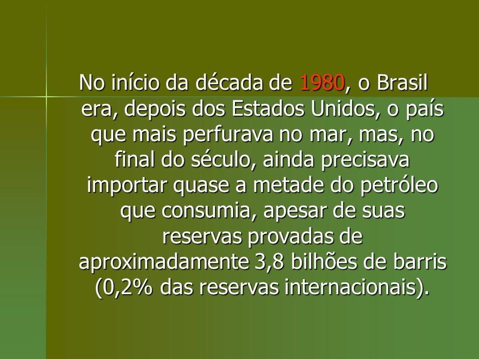 No início da década de 1980, o Brasil era, depois dos Estados Unidos, o país que mais perfurava no mar, mas, no final do século, ainda precisava impor