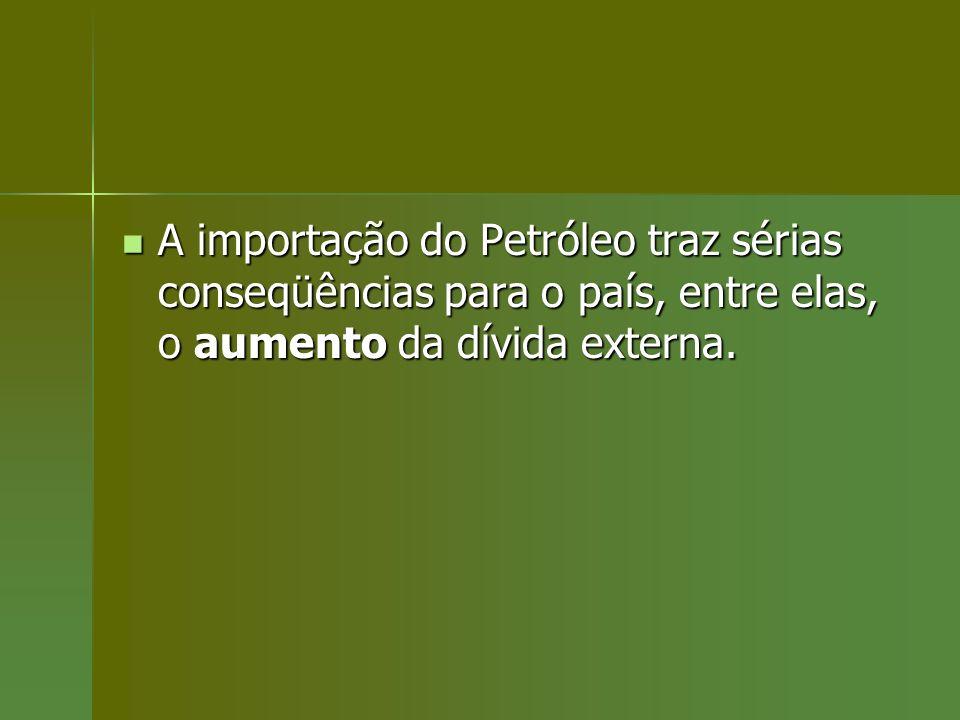 A importação do Petróleo traz sérias conseqüências para o país, entre elas, o aumento da dívida externa. A importação do Petróleo traz sérias conseqüê
