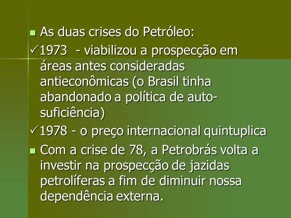 As duas crises do Petróleo: As duas crises do Petróleo: 1973 - viabilizou a prospecção em áreas antes consideradas antieconômicas (o Brasil tinha aban