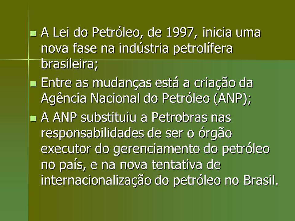 A Lei do Petróleo, de 1997, inicia uma nova fase na indústria petrolífera brasileira; A Lei do Petróleo, de 1997, inicia uma nova fase na indústria pe