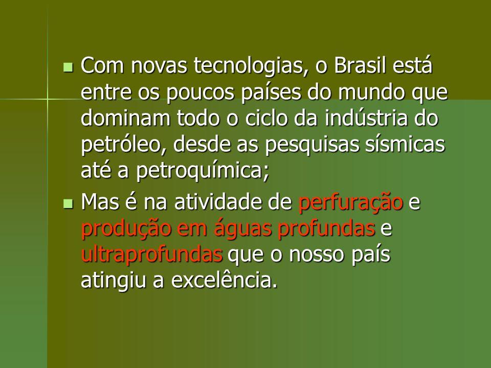 Com novas tecnologias, o Brasil está entre os poucos países do mundo que dominam todo o ciclo da indústria do petróleo, desde as pesquisas sísmicas at
