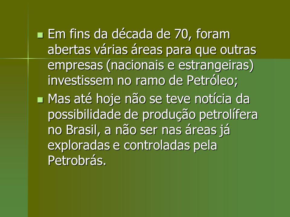 Em fins da década de 70, foram abertas várias áreas para que outras empresas (nacionais e estrangeiras) investissem no ramo de Petróleo; Em fins da dé