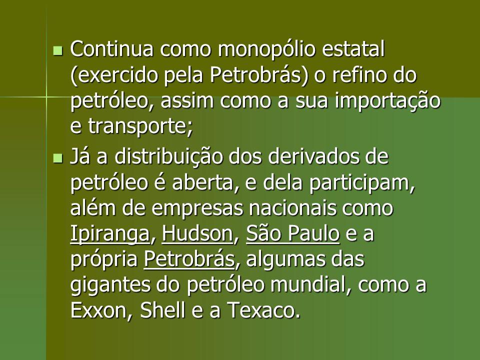 Continua como monopólio estatal (exercido pela Petrobrás) o refino do petróleo, assim como a sua importação e transporte; Continua como monopólio esta