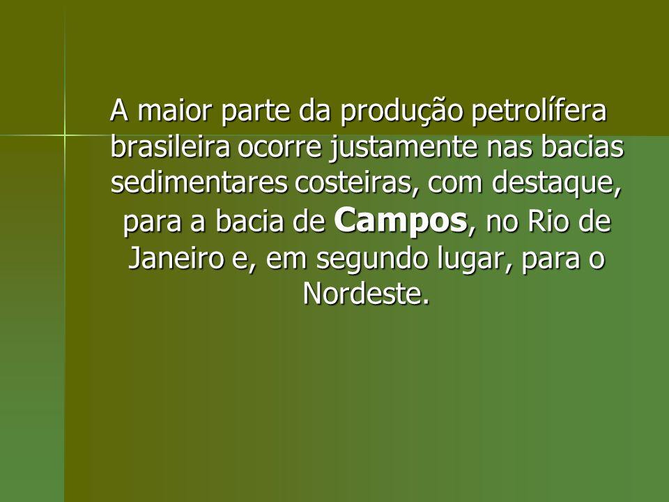 A maior parte da produção petrolífera brasileira ocorre justamente nas bacias sedimentares costeiras, com destaque, para a bacia de Campos, no Rio de