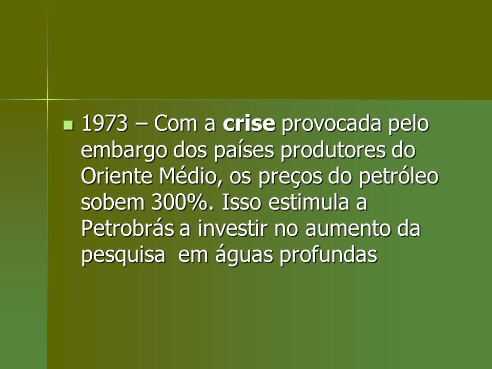 1973 – Com a crise provocada pelo embargo dos países produtores do Oriente Médio, os preços do petróleo sobem 300%. Isso estimula a Petrobrás a invest