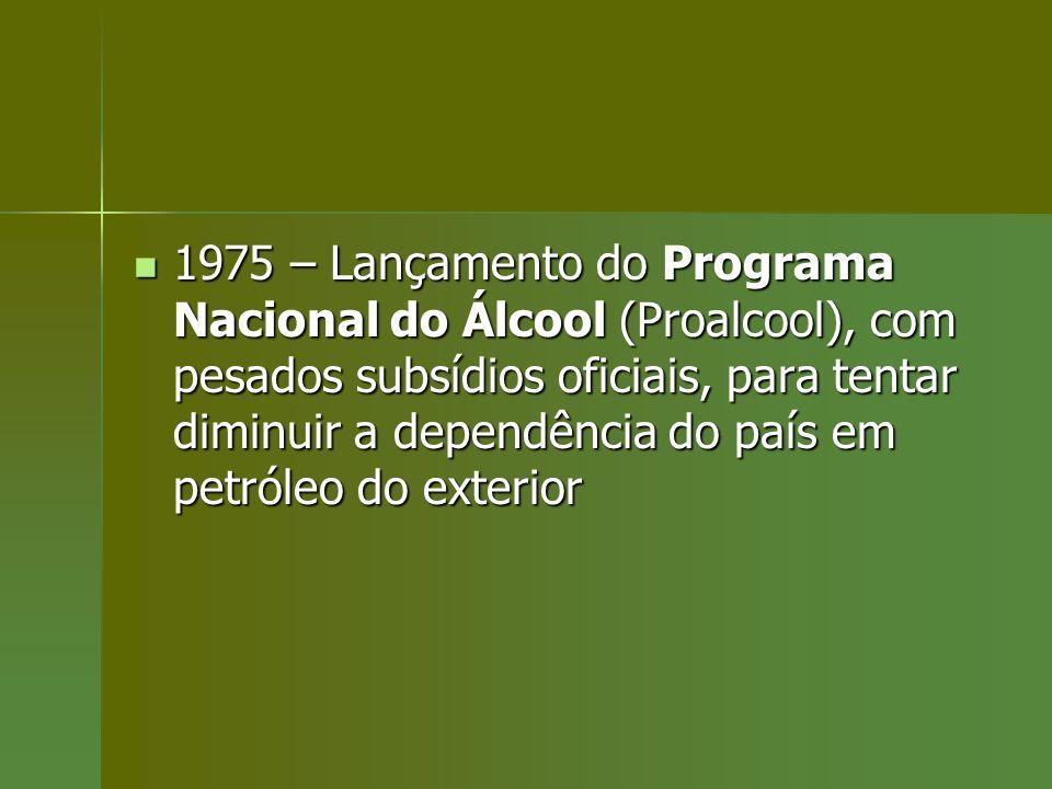 1975 – Lançamento do Programa Nacional do Álcool (Proalcool), com pesados subsídios oficiais, para tentar diminuir a dependência do país em petróleo d