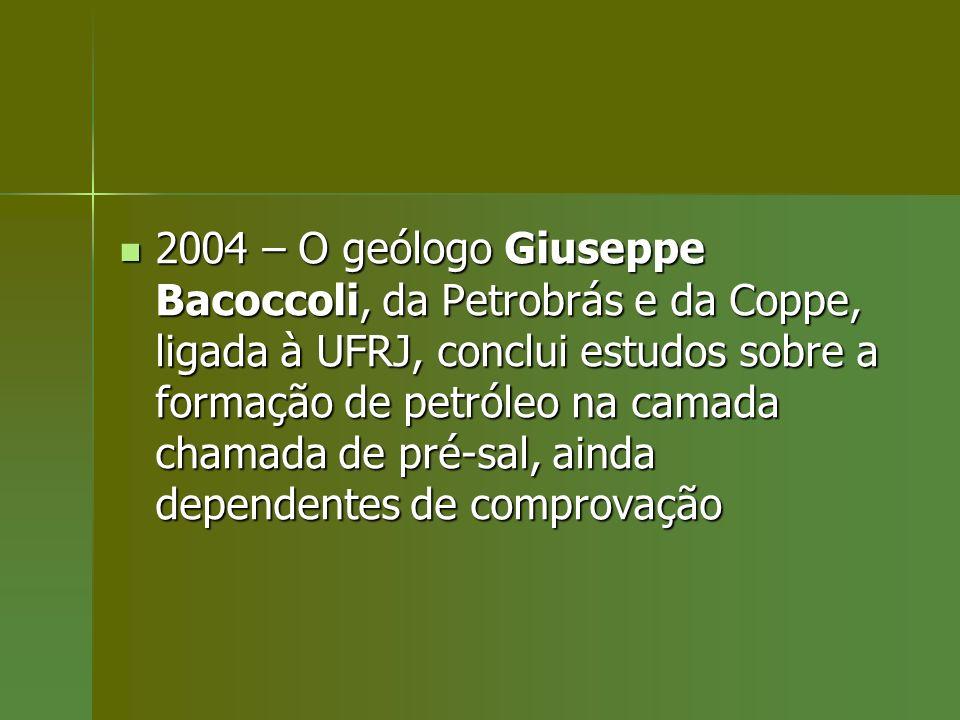 2004 – O geólogo Giuseppe Bacoccoli, da Petrobrás e da Coppe, ligada à UFRJ, conclui estudos sobre a formação de petróleo na camada chamada de pré-sal